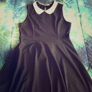 Blk Sleeveless White-Collared Flare Skate Dress
